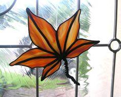 Autumn maple leaf window decoration