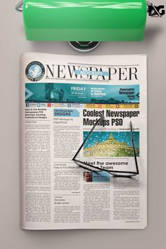 Free Newspaper PSD Folded Paper Mockup