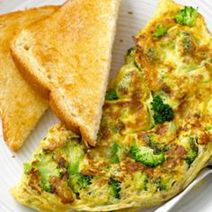 Herbed Broccoli Omelet ~~ Split this veggie-packed omelet with a friend for a wholesome and filling breakfast. For a crisper broccoli texture, use fresh florets and steam them.