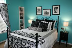 The color on the walls is Behr/Gem turqoise. The bed is from Bombay Kids and all the bedding is from TJ Maxx and Marshalls
