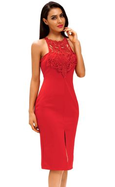 Embroidered Top Front Slit Party Dress