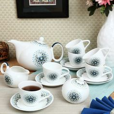 ClayCraft White & Blue Tilted Tea Set of Fifteen Pieces,Coffee & Tea Sets-Tea-Sets