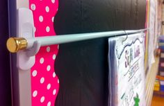 Great way to hang up anchor charts. a tension rod, command hooks, and binder rings. Great Command hooks and tension rod idea. First Grade Classroom, Classroom Setting, Classroom Setup, Classroom Design, Kindergarten Classroom, School Classroom, Classroom Curtains, Classroom Storage Ideas, Future Classroom