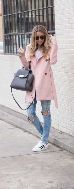 Blush Pink Valentines's Day Outfit Inspiration- The perfect blush pink trench coat for Spring- Life By Lee