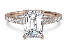 Emerald Cut French-Set Diamond Band Engagement Ring in 18kt Rose Gold 0.45 CTW