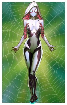 Spider-Gwen (Gwen Stacy) is a fictional superhero appearing in the Marvel Comics… Comic Book Characters, Comic Book Heroes, Marvel Characters, Comic Character, Comic Books Art, Female Characters, Comic Art, Female Villains, Marvel Girls