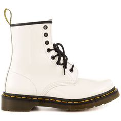 Dr Martens Women's 1460 W - White Patent Lamper ($94) ❤ liked on Polyvore featuring shoes, boots, ankle booties, chaussures, white, faux patent leather boots, patent leather boots, white booties, mid heel booties and white boots