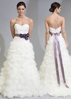 Modern trousseau bridal gown collection, Martine wedding dress - strapless fitted bodice textured skirt, purple color sash