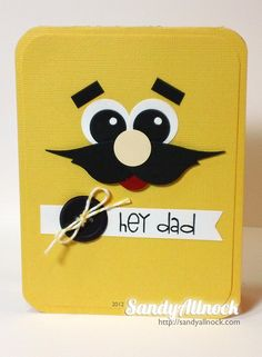 masculine Stampin' Up! Punch Art by Pickled Paper Designs - uses SU! Bird Builder punch for the mustache. Boy Cards, Kids Cards, Cute Cards, Paper Punch Art, Punch Art Cards, Tarjetas Stampin Up, Stampin Up Cards, Scrapbook Cards, Scrapbooking