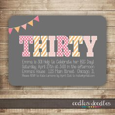 30th Birthday Invitation / Thirty / 40th, 50th Birthday Invitation / Milestone Birthday Invitation - Printable on Etsy, $15.00