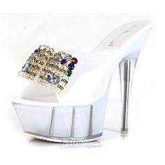 Jelly White Platform Stiletto High Heel Bridal Wedding Party Sandals SKU-1090902