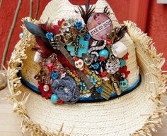 summertime funky Rock On Sister Straw Hat.... Rock n Roll Guitar Turquoise Skulls Musical Nots CHarms Red Flowers Handmade Denim Rosettes Leather Hatband Feather Collage
