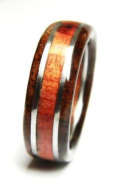 The contrast between the rich browns of the Black Walnut and the glowing reds of the Eastern Red Cedar make this ring a standout.  This ring measures 8mm in width (about the thickness of 5 US Quarters) and 2.5mm in thickness (around 2 US Dimes). Each surface is rounded slightly for a comfortable fit.    BEAUTIFUL RING - EXCELLENT SERVICE - DELIVERED ON TIME - GUARANTEED   HOW WOOD RINGS ARE MADE The two sides of the ring are bonded through the stainless steel insert. This locks all the…