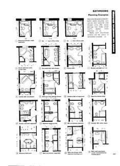 House Architecture: Bathroom Layout examples, Neufert Architects Data Ed 3 via Bathroom Layout Plans, Small Bathroom Layout, Bathroom Design Layout, Bathroom Interior Design, Bathroom Ideas, Large Bedroom Layout, Master Bathroom Plans, Small Bathroom Floor Plans, Small Full Bathroom