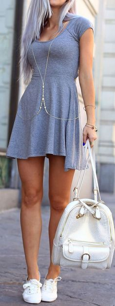 Jersey Knit Dress, Body Chain & Sneaker for a Comfy cUte Look!