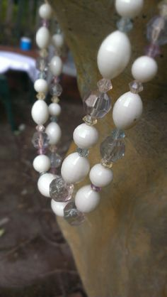 Pastel White Choker Necklace Multi Strand Faceted by TheArtisanal, $16.99