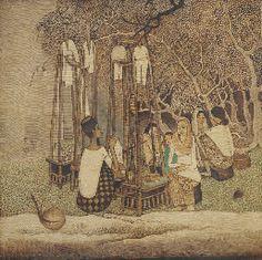 SATAY SELLER by Cheong Soo Pieng.