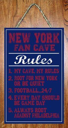 "New York Giants NFL Fan Cave Rules 10""x16"" Decor Basement Man Cave Wall Sign"