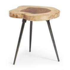 Table d'appoint avec pieds en métal et plateau en bois de sheesham naturel…