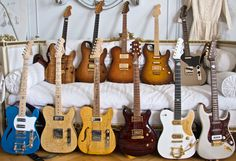 a stunning selection of beautiful handmade thorn custom guitars: thorn SS, Thorn GT, thorn artisan master guitars in woods including koa maple mahogany black limba korina african blackwood redwood spalt maple quilted maple birdseye maple lacewood indian rosewood brazilian rosewood