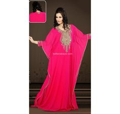 Be The Sunshine Of Everyones Eyes Dressed In This Pink Faux Georgette Dubai Fancy Kaftan