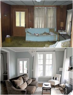 Elizabeth Burns Design Family Farmhouse Fixer Upper - French Farm House Living Room before and afters; Home Living Room, Interior Design Living Room, Living Room Decor, Living Area, Painting Living Rooms, Home Interior Colors, Fixer Upper Living Room, Small Living Room Layout, Mobile Home Living