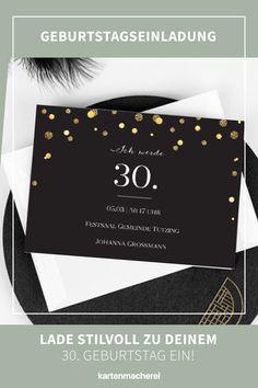"""Glitzernd ins neue Lebensjahr! Lade stilvoll zu deinem 30 Geburtstag mit Einladungskarten ein. 30. Geburtstag - Zeit zu feiern! Lade mit hochwertigen und modernen Einladungskarten deine Gäste zu deiner Geburtstagsfeier ein. Lass dich von kreativen Designs und witzigen Ideen für deine Einladung inspirieren. Gestalte deine Einladungskarte zum 30. Geburtstag jetzt ganz einfach online und überrasche deine Liebsten. Design: """" Let it Sparkle"""" Personalized Items, Designs, Birthday Celebrations, Invitation Cards, Creative Ideas"""