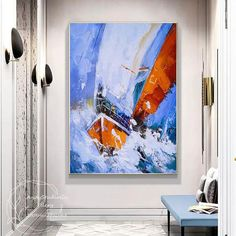Sailboat Painting, Hand Painting Art, Oil Painting Abstract, Art Original, Original Paintings, Oil Paintings, Hand Art, Blue Abstract, Handmade Art