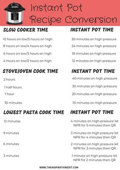 Switching over to an instant pot? Grab this Instant Pot Conversion Chart Free D. Instant Pot Pressure Cooker, Pressure Cooker Recipes, Pressure Cooking, Instant Cooker, Pressure Pot, Best Instant Pot Recipe, Instant Pot Dinner Recipes, Convert Recipe To Instant Pot, Recipe Conversions