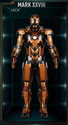 """The Mark 28 (Mark XXVIII), also known by its name as """"Jack"""", is a Radiation-Zone Suit, and was one of several new Iron Man Armors created by Tony Stark..."""