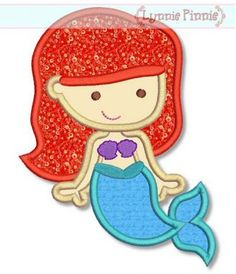 Embroidery Designs - Cutie Princess as Little Mermaid Applique Machine Embroidery Applique, Free Machine Embroidery Designs, Applique Patterns, Applique Designs, Embroidery Files, Zine, Disney Applique, Mermaid Quilt, Cute Princess