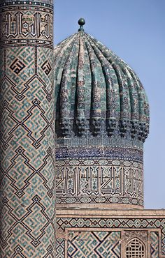 Sher-Dor Madrasah, Samarkand, Uzbekistan. The Sher-Dor is one of the three #Registan madrasahs built in 17th century together with Tillya-Kori. Every centimeter seems to be covered with richly colored geometric, floral and epigraphic patterns.