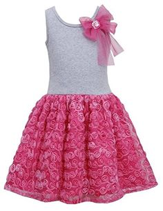 425f8a35f06 Bonnie Jean Pink Bow Shoulder Knit to Bonaz Rosette Mesh Overlay Dress