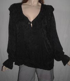 $24.50 Sweetbriar Size 16 NWT 100% Pure Silk Lovely Black Embossed Blouse #Sweetbriar #Blouse #Casual