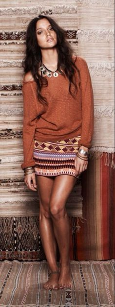 Warm colors boho chic...skirt too short for me, but I LOVE the tight skirt, loose shirt combo