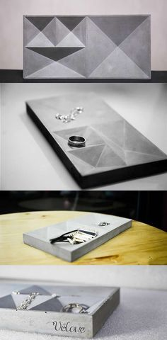 Concrete Jewelry Organizer Display Dish Tray Pen Pencil Holder Office Desk Stationery Organizer