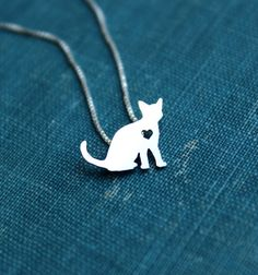Cat necklace sterling silver tiny petite kitty by JustPlainSimple