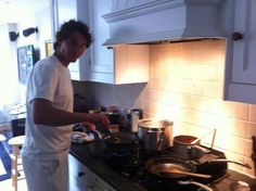 He is officially the perfect man! Another cooking picture!