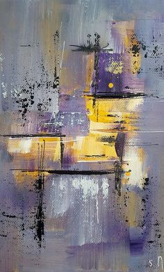 Photographie peinture moderne Gris Jaune Violet Fichier #abstractart