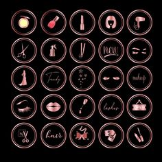 RoseGold Instgram Story Highlight icons Story icons for Instagram Baddie, Feeds Instagram, Instagram Logo, Instagram Story, Rose Gold Highlights, Story Highlights, Half Updo, Instagram Makeup Artist, Hair Icon