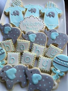 baby shower decorations 782289397749917588 - baby shower cookies, decorated cookies, baby boy,elephant cookies Source by mintkind Baby Cookies, Baby Shower Cookies, Onesie Cookies, Sugar Cookies, Baby Shower Parties, Baby Shower Gifts, Boy Baby Shower Cakes, Baby Boy Shower Decorations, Baby Shower Balloon Ideas