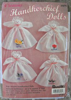 Four Seasons Handkerchief Dolls Kit by Bucilla, Doll Making Kit, Doll Sewing Pattern Unopened Doll Kit Embroidery Doll Crafts, Sewing Crafts, Handkerchief Crafts, Angel Crafts, Doll Sewing Patterns, Crafts To Make And Sell, Fabric Dolls, Embroidery Kits, Printing On Fabric