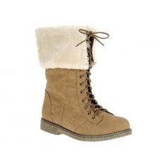 CLAP-1 Women Low Heel Mid-Calf Boot - Beige
