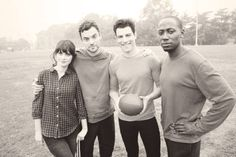 Jess, Nick, Schmidt, and Winston from New Girl - Cast Picture
