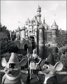 Cinderella in front of Sleeping Beauty Castle