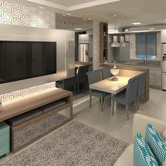 Area Social modelo para uma construtora Interior Design Living Room, Living Room Decor, Interior Decorating, Bedroom Decor, Backdrop Tv, Interior Exterior, Kitchen Decor, Sweet Home, Décor Ideas
