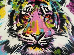Pop Art Tiger Eyes Abstract Canvas Oil by SnikerDoodleStudio