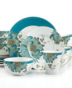 222 Fifth Dinnerware, Eliza Teal 16 Piece Set - Casual Dinnerware - Dining Entertaining - Macy's