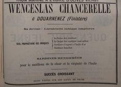 Douarnenez. Publicité Wenceslas Chancerelle, sardines renommées. 1882.