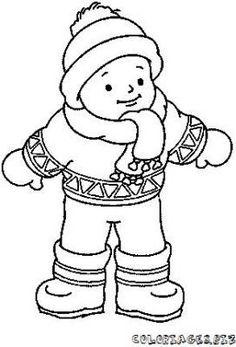 Silhouette enfant colorier recherche google hiver - Dessin de manteau ...